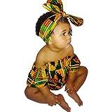 WFRAU Baby Strampler Mädchen Afrikanischer Stil Drucken Langarm Strampler Schlafanzug+Haarband...