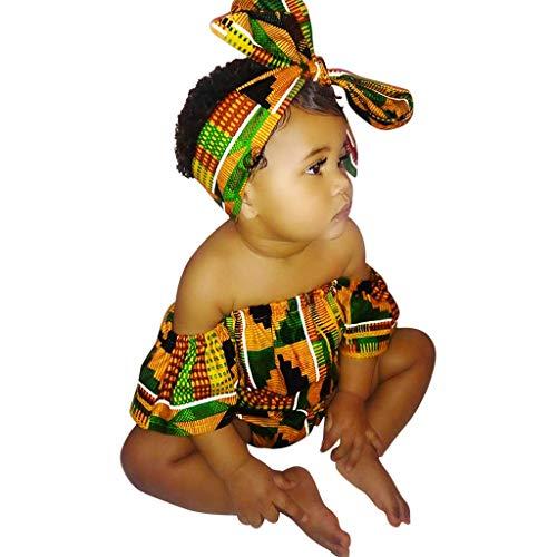 WFRAU Baby Strampler Mädchen Afrikanischer Stil Drucken Langarm Strampler Schlafanzug+Haarband Overalls Säugling Spielanzug Baby-Nachtwäsche Hosen Tops Hut Cute Jumpsuit Outfit Bodysuit Schläfer