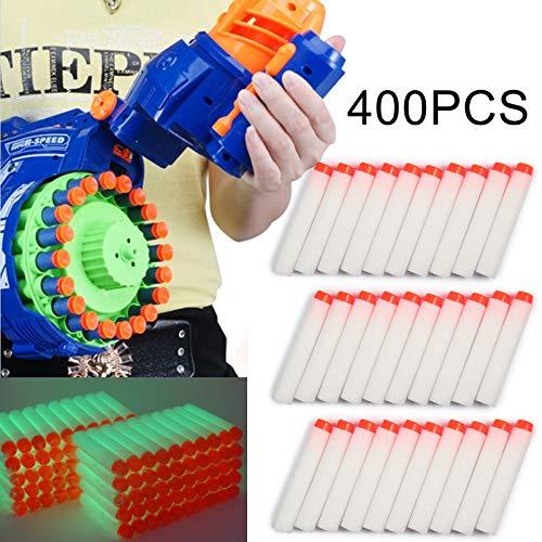 KingSaid 400 Stück Nerf Pfeile Mega Darts 7.2 cm, Foam-Pfeile Patronen für NERF N-Strike Weiß