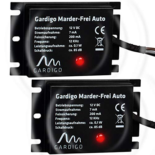 Gardigo Marderschreck Auto 2er Set I Marderschutz für KFZ I Leichter Einbau I Anschluss an 12V Autobatterie I Marderabwehr mit Ultraschall