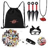 bilkoivn Bolsa de Naruto, incluye mochila con cordón, pegatina de Naruto, collar, agujas de botón, p...