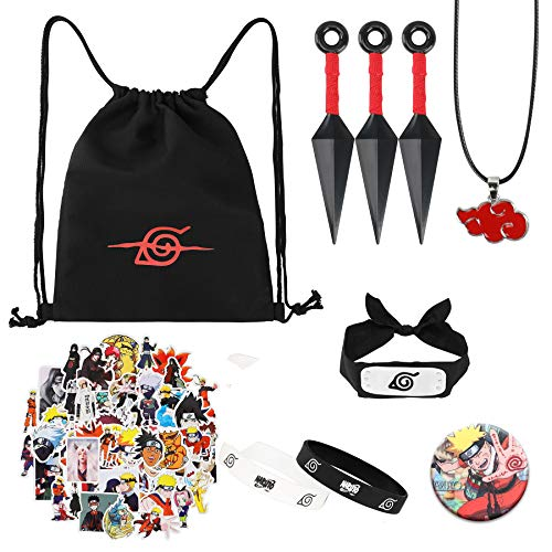 bilkoivn Bolsa de Naruto, incluye mochila con cordón, pegatina de Naruto, collar, agujas de botón, pulseras, diadema, kunai de plástico, para disfraz de ninja