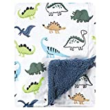 Hudson Baby Unisex Baby Plush Blanket with Sherpa Back, Dino, One Size