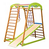 Wooden Playgrounds Babywood Home Gymnastic, Wood Indoor Jungle Gym Sets, Climbing Kids, Indoor Children Playground, Baby Play Area Complete with Climbing Ladder Slide Rings & Swing, Sport