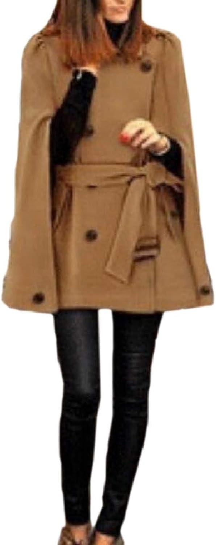 LEISHOP Women's Belt DoubleBreasted Cape Wool Blended Parkas Modern Pea Coat