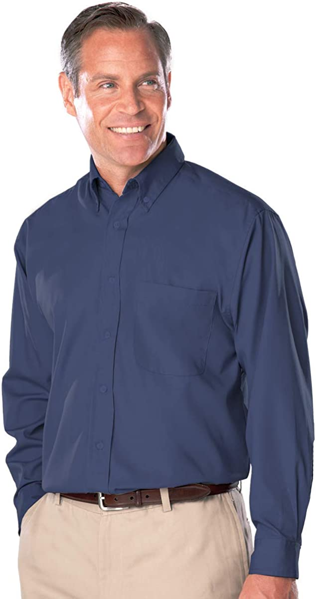 Blue Generation Bg-7266t - Men's Long Sleeve Easy Care Poplin with Matching Buttons(Tall)