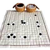 Elloapic Go Chess Game Set with Exquisite Ceramics Stones in Hand Made Woven Braid Cans Bowls Yellow + Cloth Go Game Board