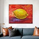 VCFHU Pinturas En Lienzo De LimóN Graffiti Arte De La Pared Frutas Cuadros De La Pared Poster Abstractos E Impresiones para La Cocina Moderna Comedor Decoracion del Hogar 40x60cm Sin Marco
