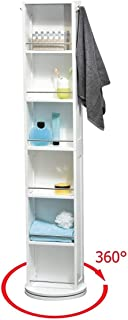 EVIDECO 9906100 Swivel Storage Cabinet Organizer Tower White Free standing linen tower Mirror