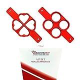 ✮ CuisineDuChef ✮ Set di 2 stampi in silicone | Forme originali: cuore e tondo | Stampo antiaderente per crepes, pancakes, uova, blinis | Cottura facile e veloce dei vostri dolci