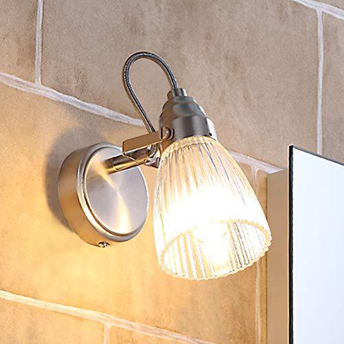Lindby Wandleuchte, Wandlampe Bad 'Kara' (spritzwassergeschützt) (Modern) in Alu aus Glas u.a. für Badezimmer (1 flammig, G9, A++, inkl. Leuchtmittel) - Wandleuchten, Spiegelleuchte Badezimmer