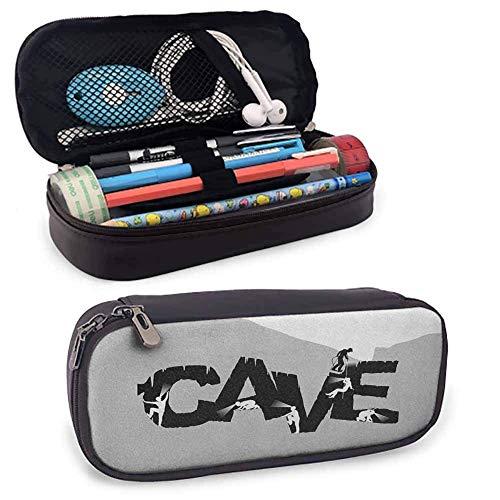 Cave Leather Pen Pencil Case, Höhlenforscher, die eine Grotte in Form des Wortes erkunden Adventure Discovery Speleology Perfect Size Pouch für Schreibwaren & Kunstutensilien Schwarz Grau Weiß