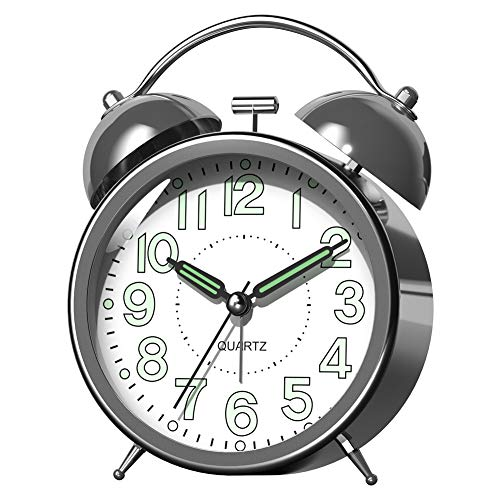 Kpin Double Bell Alarm Clock with Battery Operated, Glow in Dark Hands, Backlit on Demand, Loud Alarm for Deep Sleepers. (2L, Silver-Plate)
