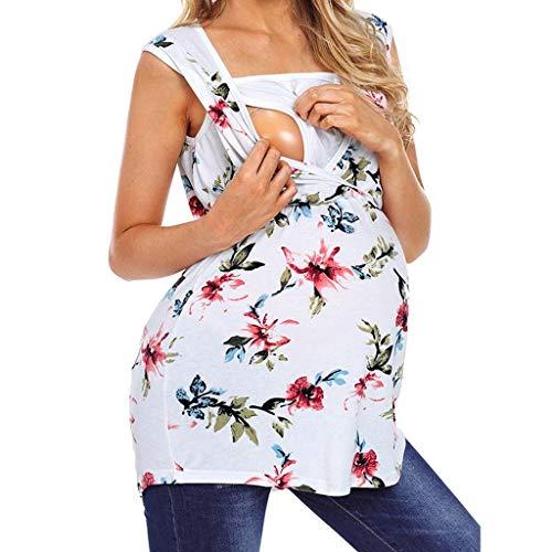 Camiseta de Las Mujeres Embarazadas Fotografia SHOBDW Tops Sin Mangas De Verano Estampado Floral Ropa De Dormir Suelta Lactancia Nusring Bebé Maternidad Ropa Talla Grande S-XXL(Blanco,L)