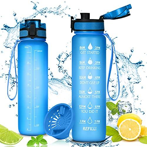 flintronic Botella de Agua Deportiva,1L con Marcador de Tiempo Motivacional, Sin BPA Water Bottle Frosted, Frosted Ligero Bidon de Bebidas Plástico para Adultos Sport, Gimnasio,Trekking, Azul
