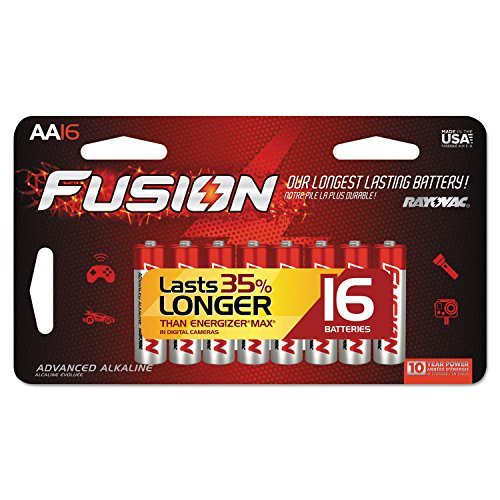 Rayovac Fusion Advanced Alkaline Batteries, AA, 16/Pack (RAY81516LTFUSK)
