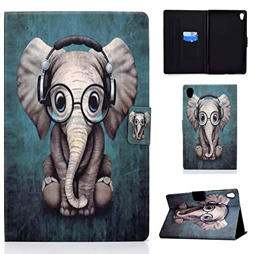 AsWant Lenovo Tab M10 HD 2 Gen Hulle PU Folio Flip Brieftasche Hulle Magnetverschluss Tablet Hulle mit Kartenschlitz fur Lenovo Tab M10 HD 2 Generation 101 Zoll TB X306XTB X306F Elefanten Baby