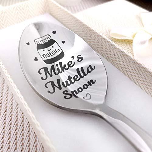 Nutella-Löffel, silberfarben, mit Namens-Löffel in Geschenkverpackung, personalisierbarer Kaffeelöffel, süßes individuelles Geschenk, lustiges Nutella-Geschenk, personalisierbar, Andenken