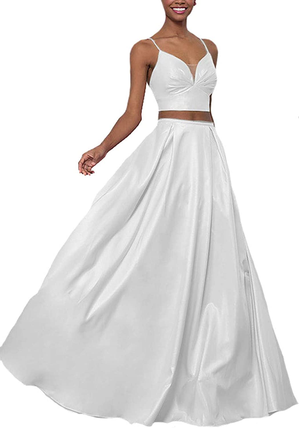 Lilyla Long Prom Dresses Two Piece ALine VNeck Satin Evening Party Gowns with Pockets