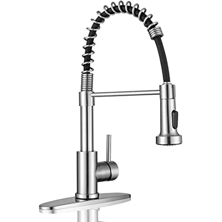 Kitchen Sink Faucets, Kitchen faucets with Pull Down Sprayer WEWE sus304 Stainless Steel Brushed Nickel Single Handle Single Hole Faucet for Farmhouse rv Utility bar Laundry Sinks