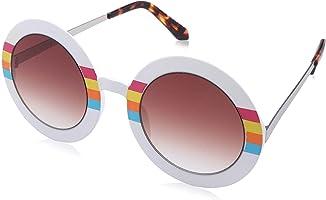 نظارة شمس بشنبر مخطط وعدسات دائرية بني للنساء من سبيتفاير Blue Sky - ابيض