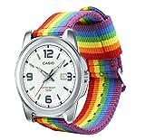 Estuyoya - Pulsera de Nailon para Relojes de Correa de 22mm Compatible con Casio, Diesel, Lotus, Samsung, Huawei Colores Orgullo Gay LGBT, Ajustable Transpirable Deportiva Casual Elegante