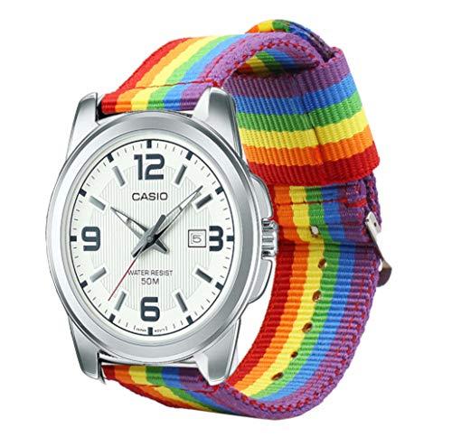 Estuyoya - Nylon armband voor 22 mm bandhorloges compatibel met Casio, Diesel, Lotus, Samsung, Huawei Kleuren LGBTI Gay Pride Rainbow 22mm Verstelbaar Ademend Sportief Casual Elegant