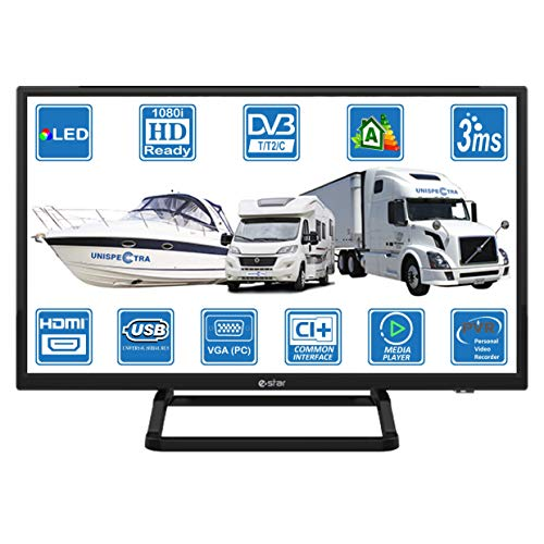 Camping Car Caravane Barco 12 V 24 pulgadas LED HD TV digital DVB-T2/C TDT HD TV 12 V 240 V USB PVR Reproductor Multimedia vga & HDMI Monitor PC