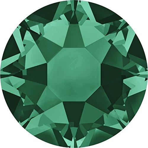 Swarovski 100 Stück 2078 XIRIUS Hotfix, Emerald (Grün), SS16 (Ø ca. 4 mm), Strasssteine zum Aufbügeln
