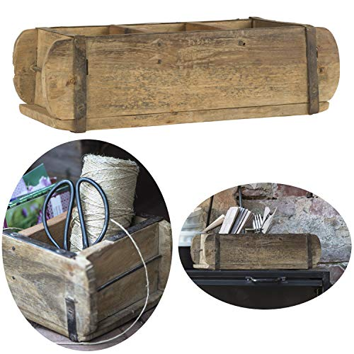 LS-LebenStil Alte Holz Aufbewahrung-Box Ziegelform 3-Fach Braun 31x15x10cm Original Unika