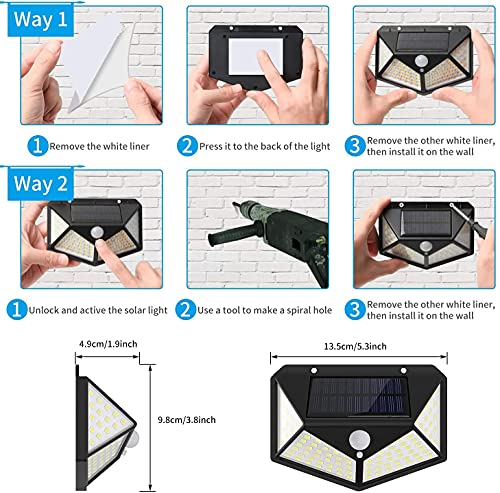 AG Motion Sensor Solar LED Light, 100 LED for Home, Garden, Outdoors, Terrace| Bright Wireless Security Motion Sensor Light with Automatic Motion Sensor with 100 LED Night Light (Black- Pack 1)
