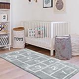 LIVEBOX Kids Play Mat,Hopscotch Area Rug Runner24  x 60   Soft Plush Playroom Carpet Non-Slip Children Numbers Educational & Fun Throw Rugs for Girls Bedroom Decor Nursery Best Shower Gift (Gray)