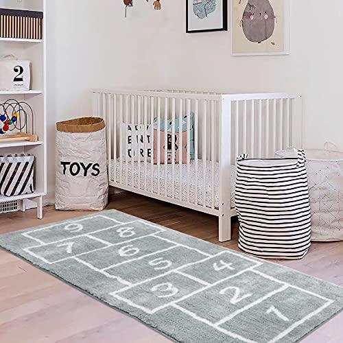 LIVEBOX Kids Play Mat,Hopscotch Area Rug Runner24''x 60'' Soft Plush Playroom Carpet Non-Slip Children Numbers Educational & Fun Throw Rugs for Girls Bedroom Decor Nursery Best Shower Gift (Gray)