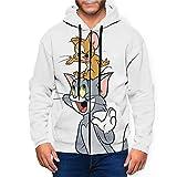 Tom and Jerry - Sudadera con capucha para hombre, con bolsillo con cremallera, color negro