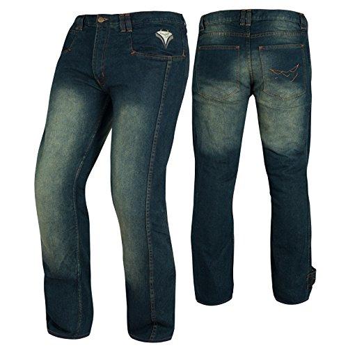 A-Pro, jeans da moto, con protezione CE, colore Blu, 32