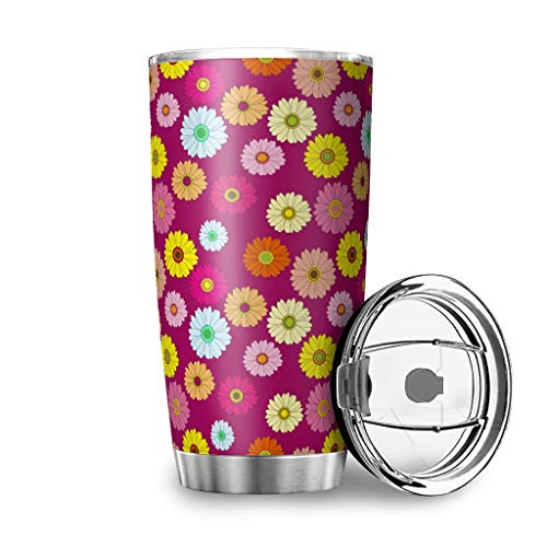Taza de viaje con tapa y diseño de margaritas, de acero inoxidable, diseño 3D, 100 % hermético, color blanco, 600 ml