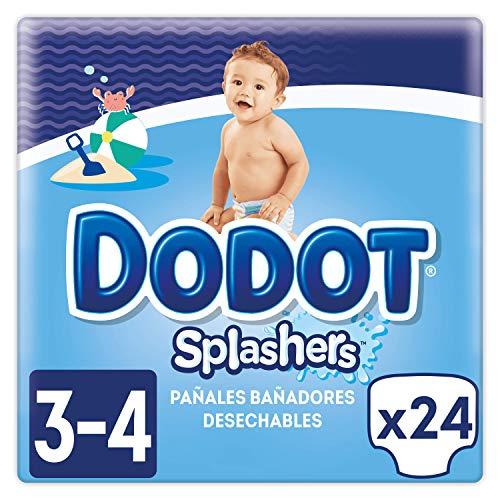 Dodot Splashers Talla 3, 2 x 12 Pañales bañadores desechables, 6-11 kg, no se hinchan y fácil de quitar