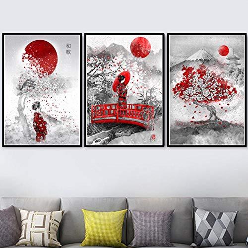 LLXHGPintura Artística Nueva Tinta Japonesa Zen Bushido Samurai Kanji Impresiones De Carteles Lienzo Cuadros De Pared para Sala De Estar Decoración del Hogar-50X70Cmx3 Sin Marco