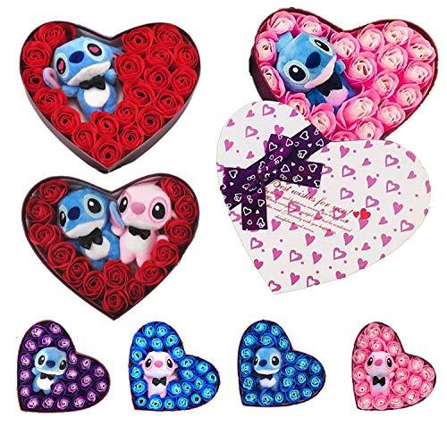 Lilo & Stitch Bouquet Rose Peluche Stitch Confezione A Forma di Cuore Love Hearth Amore Idea Regalo San Valentino Anniversario (Peluche Blu/Fiori Blu)