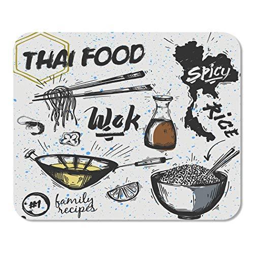 Mousepad Computer Notepad Office Wok von asiatischen Gerichten Thai Food Nudeln und Reispfanne Skizze Reise Kochen Doodle Cook Home School Game Player Computer Worker Inch