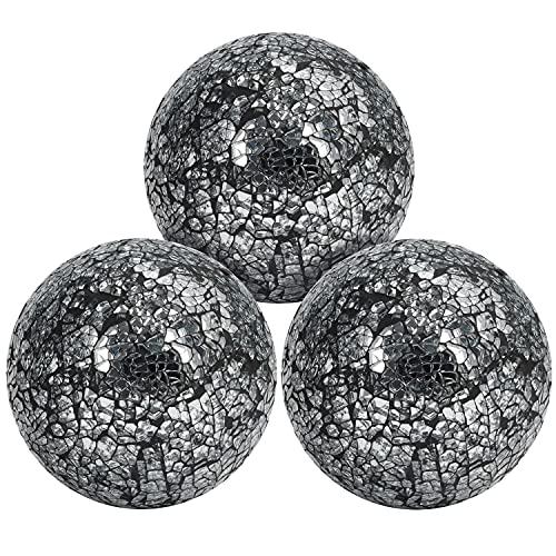 BELLE VOUS Bolas Decorativas de Centro de Mesa Espejo Craquelado (Pack de 3) 10 cm de Diámetro – Set Esferas Decorativas, Adornos Sala de Estar/Comedor, Decoración para el Hogar