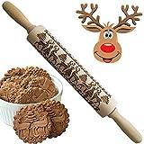 Mattarello in legno 3D per dolci, con incisione in rilievo, per biscotti, waffles, impasto torta, con motivo alberi e cervi, regalo creativo per Natale, Capodanno Alce di Natale