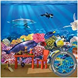 GREAT ART Children's Room Wall Mural – Aquarium – Mural Decoration Underwater World Sea Dweller Ocean Fishes Dolphin Turtle Coral Reef Wallpaper Photoposter Decor (132.3 x 93.7 Inch / 336 x 238 cm)