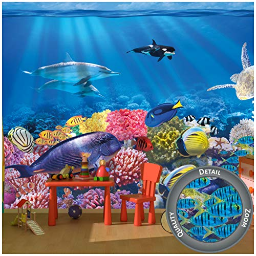 GREAT ART® Fototapete – Aquarium Wandbild – Dekoration farbenfrohe Unterwasserwelt Meeresbewohner Ozean Fische Delphin Korallen-Riff Clownfisch Foto-Tapete Wandtapete Fotoposter (336 x 236 cm)
