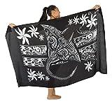 Island Style - Manta Ray/Tiare - Full-Sized Batik Sarong (Black/White)