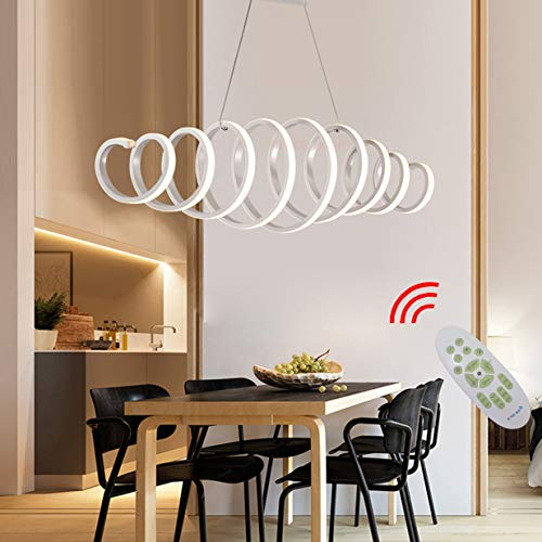 LED Lampara de comedor Lampara regulable colgante Diseno moderno de primavera Control remoto de metal Luces de techo para sala de estar Dormitorio Cocina Mesa de centro Bar Decoracion Lamparas L100cm