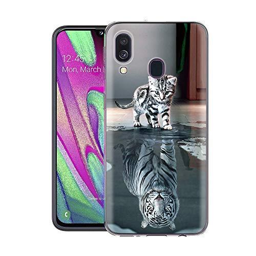 Preisvergleich Produktbild Zhuofan Plus Wiko View 3 Hülle,  Silikon Transparent Schutzhülle mit Muster Motiv Handyhülle TPU 360 Bumper Kratzfest Durchsichtige Case Cover für Wiko View 3 6, 26 Zoll,  Chat Tigre