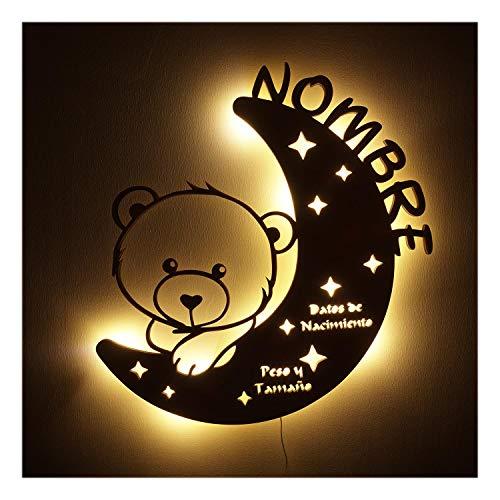 Lámpara de noche Osito de Peluche - Regalo para bautizo, Navidad, cumpleaños - fiesta bienvenida bebe sagrada comunión bebé niño niña - individual Único con nombre de deseo