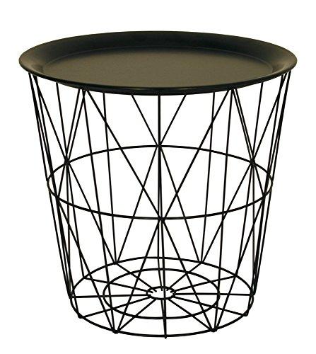 Mesa auxiliar pequeña de alambre con tapa de bandeja de metal, en color negro