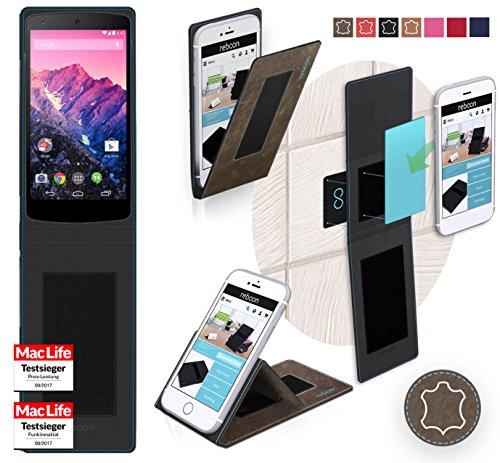 reboon Hülle für LG (Google) Nexus 5 Tasche Cover Case Bumper | Braun Wildleder | Testsieger